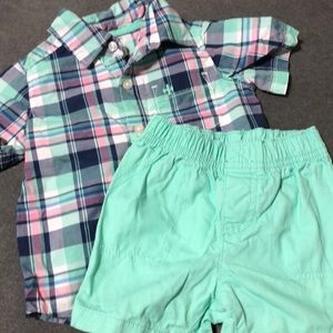 Carters Shirt/short set - Size 12M